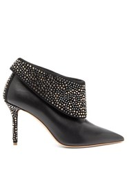 Malone Souliers Tomi Crystal Embellished Leather Ankle Boots Black