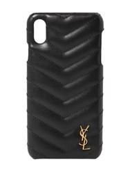 Saint Laurent Quilted Leather Iphone Xs Cover Noir