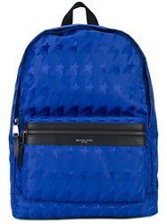 Michael Kors 'Kent' Houndstooth Backpack Men Acrylic Polyamide One Size Blue