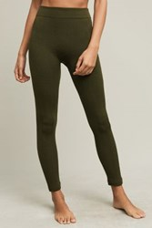 Anthropologie Fleece Lined Cabeled Leggings Moss