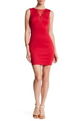 Guess Lace Mesh Sleeveless Dress Red