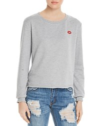 Honey Punch Lips Embroidered Distressed Sweatshirt 100 Exclusive Heather Gray