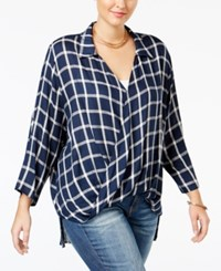 Soprano Trendy Plus Size Faux Wrap Blouse Navy