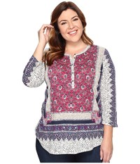 Lucky Brand Plus Size Border Floral Henley Pink Multi Women's Clothing
