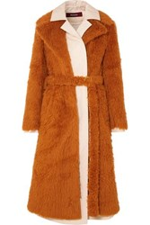 Sies Marjan Mamie Layered Faux Shearling And Cotton Canvas Trench Coat Brown