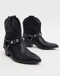 Bershka Harness Detail Western Boots In Black