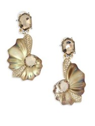 Alexis Bittar Lucite Crystal Shell Clip On Earrings Gold