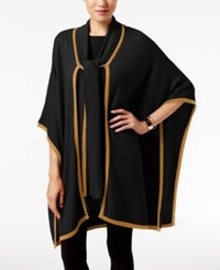August Silk Tie Neck Poncho Cardigan Black Camel