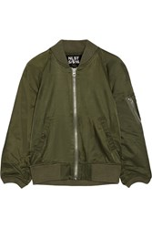 Nlst Cotton Blend Satin Bomber Jacket Army Green