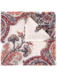 Etro Paisley Print Sequin Embellished Scarf Red