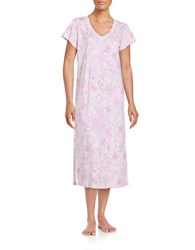 Miss Elaine Plus Floral Print V Neck Nightgown Pink Lilac