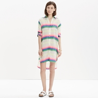 Madewell Mara Hoffman Rainbow Striped Cover Up Shirt