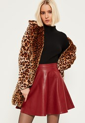 Missguided Burgundy Faux Leather Full Mini Skirt