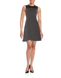 Ivanka Trump Faux Leather Paneled Mixed Media Fit And Flare Dress Grey Black