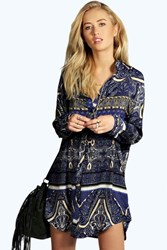Boohoo Woven Paisley Print Shirt Dress Blue