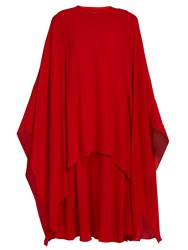 Valentino Detachable Cape Silk Crepe Dress Red