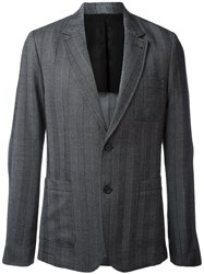 Ami Alexandre Mattiussi Half Lined Two Button Jacket Polyester Viscose Wool Grey