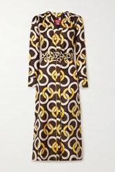F.R.S For Restless Sleepers Clizio Belted Printed Silk Satin Twill Midi Dress Brown