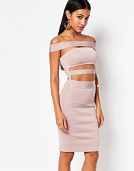 Wow Couture Off Shoulder Bandage Dress Dusky Wineberry Pink