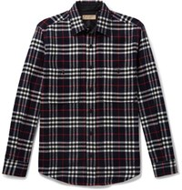 Burberry Checked Wool And Cotton Blend Shirt Navy