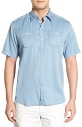 Tommy Bahama Men's 'New Twilly' Island Modern Fit Short Sleeve Twill Shirt Denim Blue