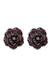 Betsey Johnson Crystal Rose Button Earrings Pink