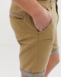Brave Soul Slim Fit Check Turn Up Chinos Stone