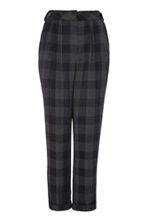 Topshop Check Mensy Trousers Navy Blue