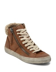 Dolce Vita Zola Leather And Faux Shearling Sneakers Teak