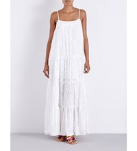 Seafolly X Stitched Tiered Cotton Blend Maxi Dress Milk