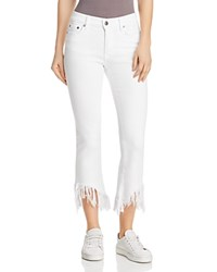 Pistola Tallis Frayed Cropped Flared Jeans In White Lies