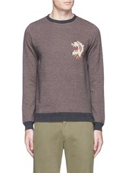 Remi Relief 'Alaska' Tiger And Bear Jacquard Effect Cotton Sweatshirt Brown
