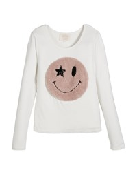 Hannah Banana Long Sleeve Top W Faux Fur Smiley Face Size 7 14 White