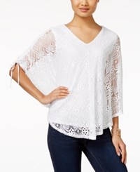 Styleandco. Style And Co. V Neck Lace Poncho Only At Macy's Bright White