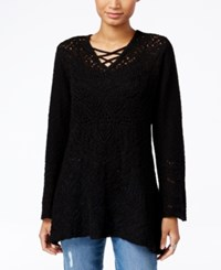 Styleandco. Style Co. Pointelle Tunic Sweater Only At Macy's Deep Black