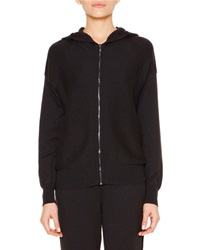 Callens Cashmere Blend Honeycomb Knit Hooded Zip Sweater