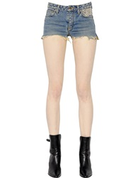Saint Laurent Distressed Studded Raw Cut Denim Shorts Washed Blue