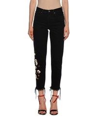 Off White Mid Rise Floral Embroidered Crop Jeans Black White