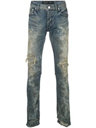 Fagassent Dirty Distressed Skinny Jeans Blue