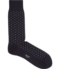 Reiss Piner Mens Geometric Print Socks In Blue