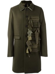 N 21 No21 Contrast Panel Buttoned Coat Green