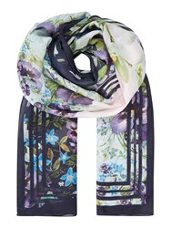 Ted Baker Enchantment Long Silk Scarf Navy
