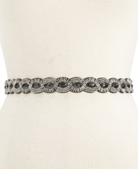 Styleandco. Style And Co. Scalloped Beaded Stretch Belt Only At Macy's Black Silver