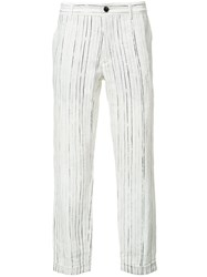 Ann Demeulemeester Grise Woven Linen Trousers White