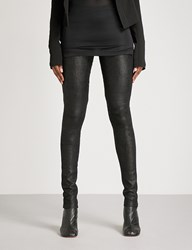 Rick Owens Skinny High Rise Leather Trousers Black