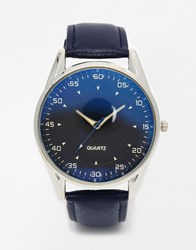 Reclaimed Vintage Leather Watch With Blue Dial Blue Black