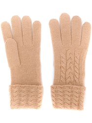 N.Peal Cable Knit Cashmere Gloves Neutrals