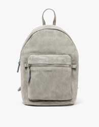 Baggu Leather Backpack In Grey Suede