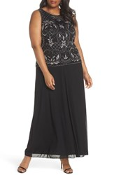 Pisarro Nights Plus Size Beaded And Embroidered Bodice Mesh A Line Gown Black Mercury