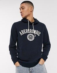 Abercrombie And Fitch Overhead Logo Hoodie Navy
